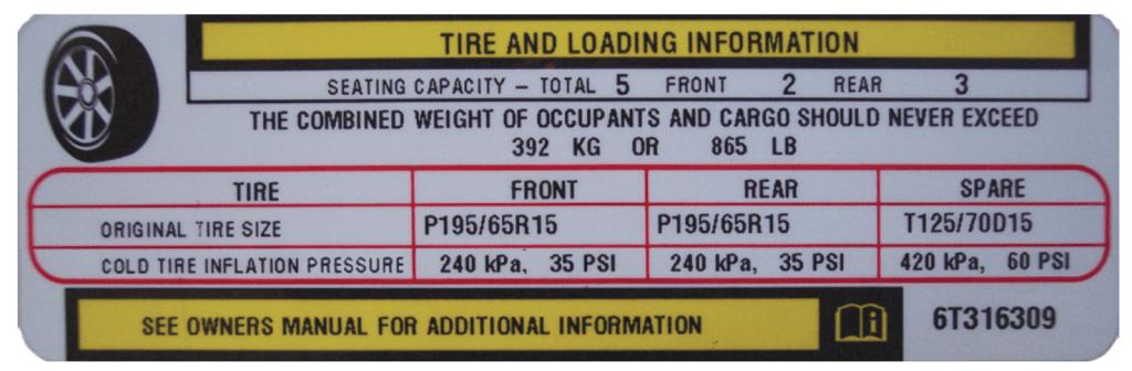 Tire Placard Example - Image © Rolling Hills Publishing/Auto Upkeep